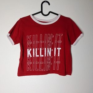 Freeze Red & White Killin' It Cropped Tee Size XS